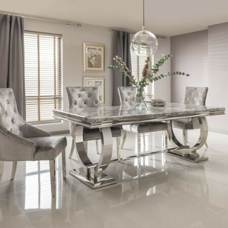 Details About Arianna Cream Marble Chrome 1 8m 5 Piece Dining