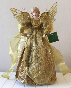 New Vintage 17 Angel Gold Tree Topper Holiday Decoration Porcelain Head Hands Ebay Gold Tree Topper Tree Toppers Christmas Tree Tops