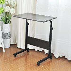 Soges Adjustable Mobile Bed Table 23 6inches Portable Laptop Computer Stand Desks Cart Tray Black 05 1 60b In 2020 Computer Stand For Desk Bed Table Laptop Stand Bed