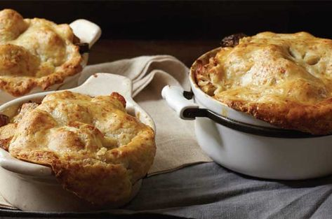 Chicken Pot Pies with Fall Vegetables and Golden Cheddar Crusts...Did someone say fall comfort food?