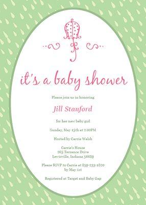 Customizable baby shower invitation template - Pink Baby Umbrella