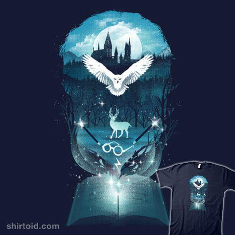 Book of Fantasy   Shirtoid #book #danelijahfajardo #dandingeroz #film #harrypotter #hedwig #hogwarts #movie #patronus