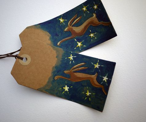 Hand painted Hare gift tags- set of 2. £4.00, via Etsy.