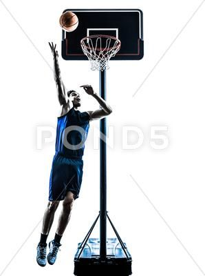 Caucasian Man Basketball Player Jumping Throwing Silhouette Stock Image 38005096 With Images Basketball Players Mens Basketball Silhouette