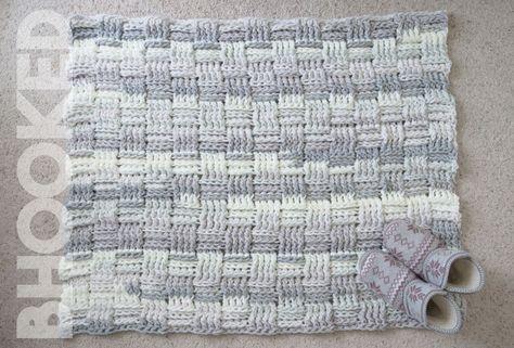 Basket Weave Crochet Rug Free Pattern  Tutorial from B.Hooked