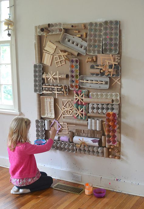 Using recycled materials, kids create a giant assemblage structure that they pai… – Schulideen – Recycling Crafts For Teens, Projects For Kids, Crafts For Kids, Fun Crafts, Crafts From Recycled Materials, Recycled Art Projects, Earth Day Crafts, Diy And Crafts Sewing, Handmade Home