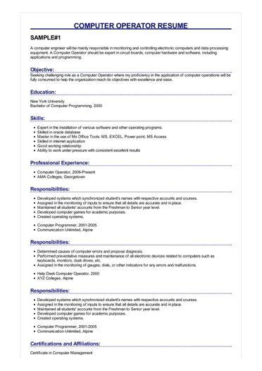 Sample Computer Operator Resume Di 2020