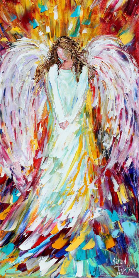 Estupendo Angel print angel art angel of Joy Fine Art Print made from image of past oil pa. Angel print angel art angel of Joy Fine . Oil Painting Frames, Painting & Drawing, Image Painting, Painting Wallpaper, Painting Flowers, Painting Trees, Modern Impressionism, Palette Knife Painting, Painting Inspiration