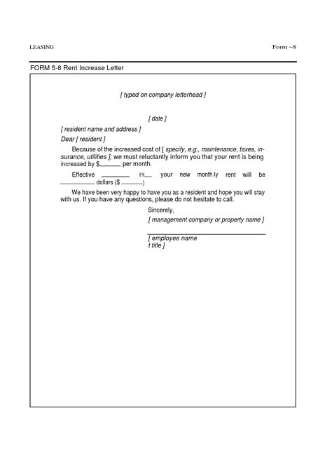 authorization letter dfa authorisation for signing - rent increase letter