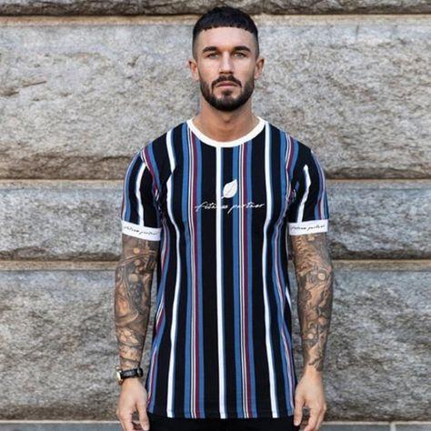 New Mens Striped t shirt Summer Loose Short sleeve O-Neck T-shirt Male – menstights