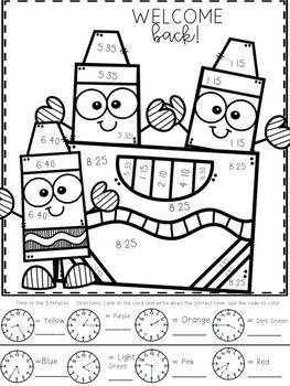 Telling Time Color By Number B2s Themed Telling Time Baby Art Crafts Kindergarten Activities