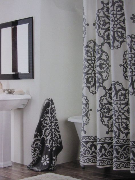 Tahari Home Collection Medallion Shower Curtain Gray And White