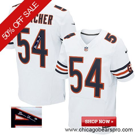$129.99 Men's Nike Chicago Bears #54 Brian Urlacher Elite Away White NFL Alternate Autographed Jersey