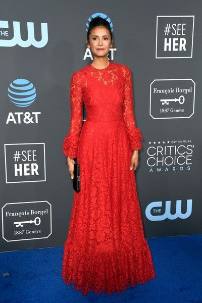 Nina Dobrev attends the 24th annual Critics' Choice Awards at Barker Hangar.