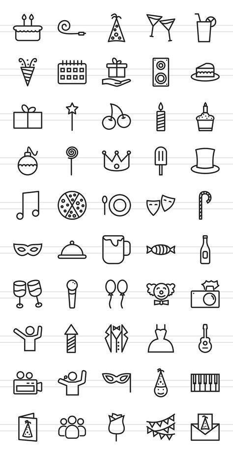 50 Birthday Line Icons - Icons - 2