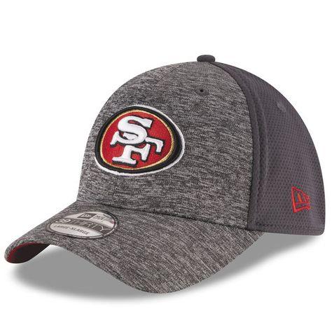 5cbb3650d6bf1 Men s San Francisco 49ers New Era Heathered Gray Graphite Shadowed Team  39THIRTY Flex Hat