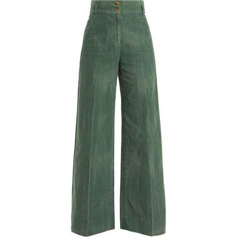 Designer Clothes, Shoes & Bags for Women Cool Outfits, Casual Outfits, Fashion Outfits, Colored Pants, Slim Fit Pants, Green Pants, Wide Leg Trousers, Trousers Women, Corduroy Pants