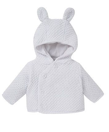 White Hooded Cardigan | Hooded cardigan, Newborn outfits and Babies