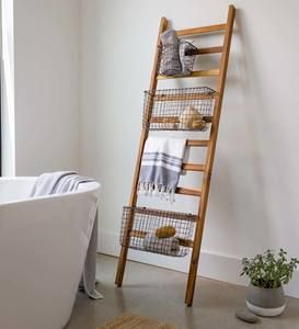 Teak Wall Ladder With Wire Baskets Vivaterra In 2020 Teak Wall Family Room Decorating Wall Ladders