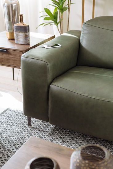 Power Reclining Leather Sofa In Green Avec Images Deco