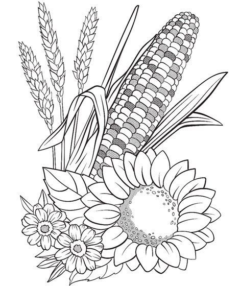 Corn And Flowers Coloring Page Crayola Com Thanksgiving Coloring Pages Fall Coloring Pages Free Thanksgiving Coloring Pages