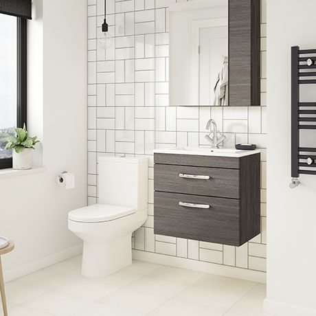 Brooklyn Grey Avola Cloakroom Suite Wall Hung Vanity Close Coupled Toilet Victorian Plumbing Uk In 2020 Wall Hung Vanity Cloakroom Suites Vanity