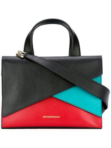 EMPORIO ARMANI Colour Block Tote.  emporioarmani  bags  shoulder bags  hand  bags  leather  tote  cotton   9e2e0f4504e3d