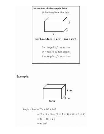 Surface Area Of Rectangular Prism Surface Area In 2020 7th Grade Math Worksheets Rectangular Prism Super Teacher Worksheets