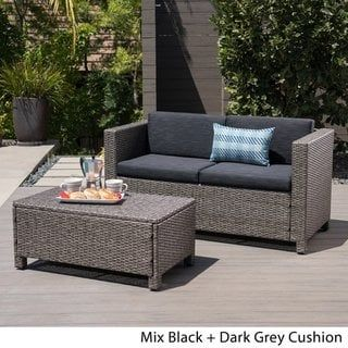 Puerta Outdoor Wicker Loveseat And Coffee Table Set By Christopher