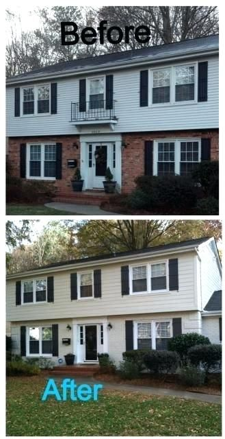 Can You Paint Siding Half Brick Half Siding House I Love The Color Exterior Paint Ideas Bricks Brick Exterior House Home Exterior Makeover Painted Brick House