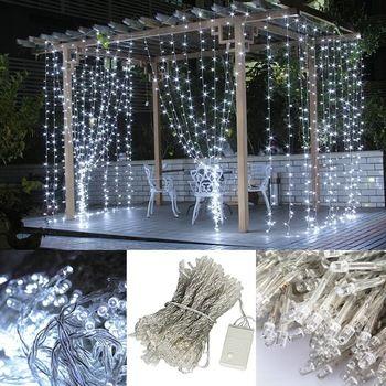 Wedding party lights 3 m x 3 m bianco puro 300 led fata luci stringa tenda decorazione per la cerimonia nuziale del partito mostra di natale 110 v