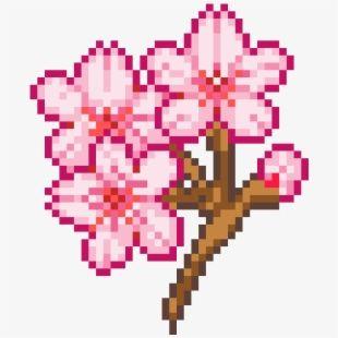 Cherry Blossoms Easy Pixel Art Pixel Art Pixel Drawing