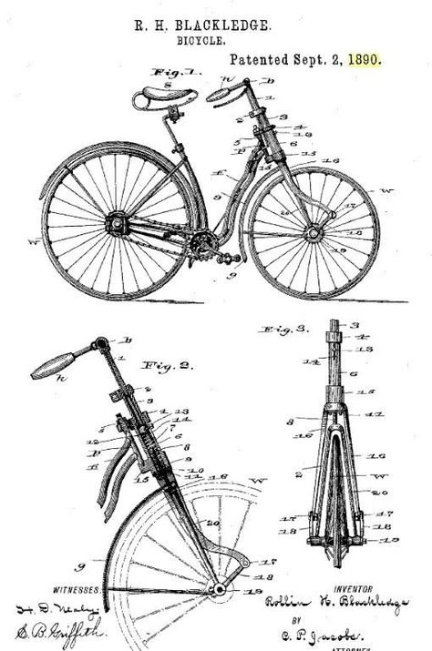First Front Suspension Bike? Here is an interesting and early (1890) front suspension bike, using a spring in the fork assembly to soften the rough roads of the day.: