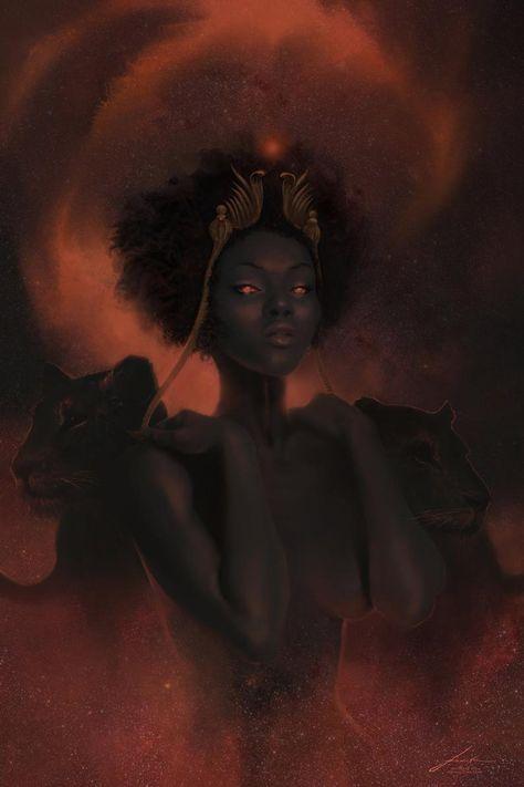 Sekhmet - Print - Egyptian Mythology Art - Goddess of War and Medicine - Sun Godesses - Fiery Eye of Ra Black Love Art, Black Girl Art, Art Girl, Black Goddess, Goddess Art, African American Art, African Art, Egyptian Mythology, Egyptian Goddess