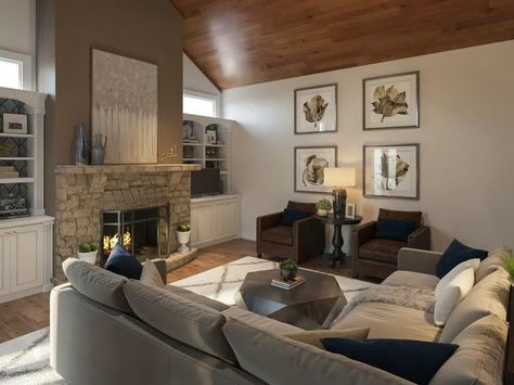 Before & After: Transitional Living Room Online Interior Design | Decorilla Online Interior Design
