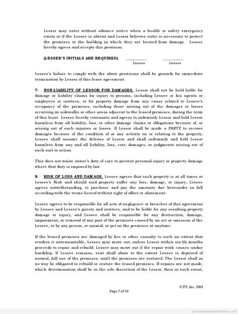 Printable Sample standard lease agreement Form Sample Legal Forms
