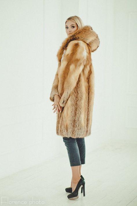 fadfee271 Red fox fur long coat Fur jacket for women Fox winter coat Oversized  Аnniversary gift Fur coats
