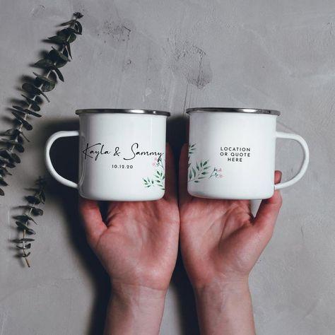 Wedding Favors Camping Mug Personalised Wedding Mugs Campfire Mug Enamel Mug Greenery // Double Sided