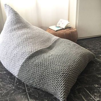 Awe Inspiring Adult Lounge Bean Bag White Grey Crochet Bean Bag Chair Knit Ncnpc Chair Design For Home Ncnpcorg
