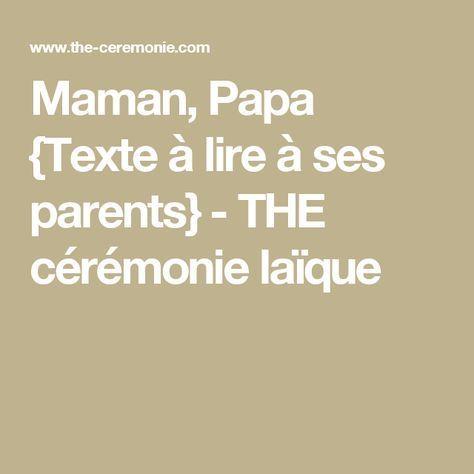 Maman Papa Texte Ceremonie
