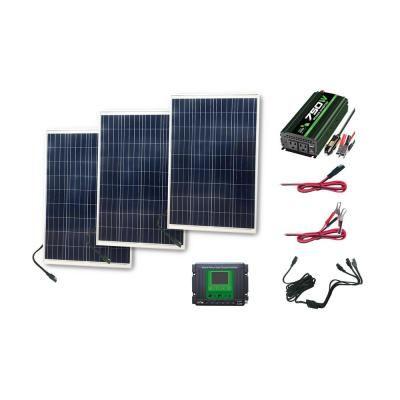 Nature Power 300 Watt Complete Solar Power Kit 3x100 Watt Solar Panels 750 Watt Power Inverter 30 Amp Charge Controller 53906 Solar Power Kits Solar Panels Solar Panel Installation