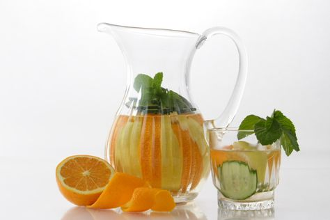 Infused Water:  Ingredients  1 cucumber thinly sliced  1 orange thinly sliced  1 lemon thinly sliced  1 bunch of fresh mint leaves  3 to 4 cups of ice  3 to 4 cups of water
