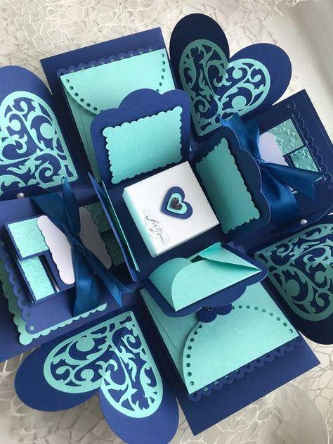 Muttertag-Explosion-Foto-Box Foto-Box Königsblau & Teal Blue | Etsy