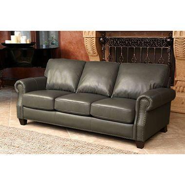Helena Top Grain Leather Sofa Grey Leather Sofa Top Grain