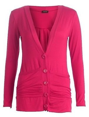 LADIES NEW LONG SLEEVE DROP STRETCH  BOYFRIEND OPEN CARDIGAN WITH POCKETS S M L