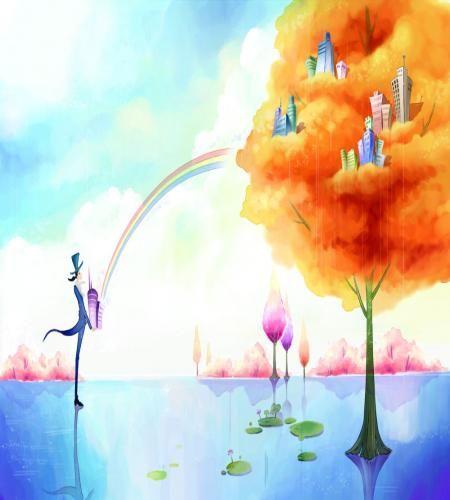 تصميم رسم مدينة خيالية ملف مفتوح Psd فوتوشوب Free Art Art Wallpaper Painting