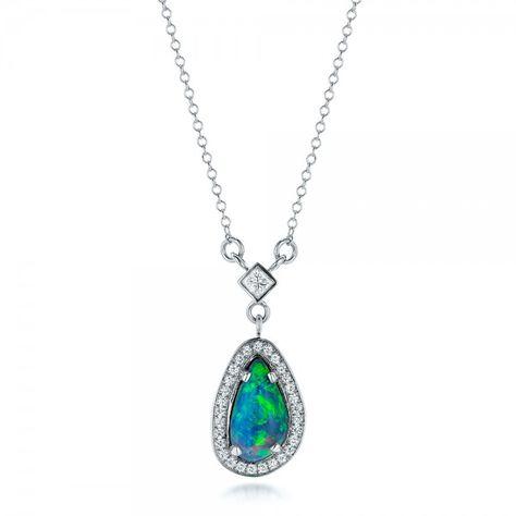 Custom Opal and Diamond Halo Pendant #JosephJewelry | Bellevue | Seattle