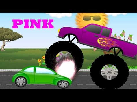 Monster Trucks Teaching Children Colors And Crushing Cars