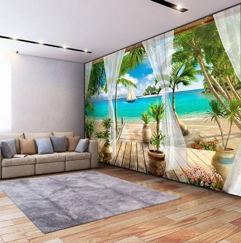 High quality 3d tropical beach wall mural for any room. Stunning photo print wallpaper open window with curtains seaview theme. Part of our extensive seascape collection wallpapers. All our merchandise ships free worldwide.
