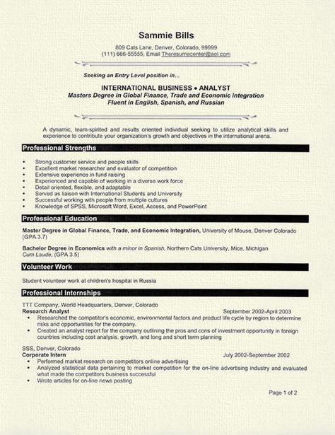CV Psychology Graduate School Sample -    wwwresumecareer - exercise psychologist sample resume